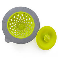 Full Circle, Sinksationational, Sink Strainer with Pop-Out Stopper, Green & Slate