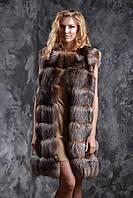 """Жилет из чернобурки цвета """"старое золото"""" ярусами Silver fox fur vest gilet sleeveless, фото 1"""