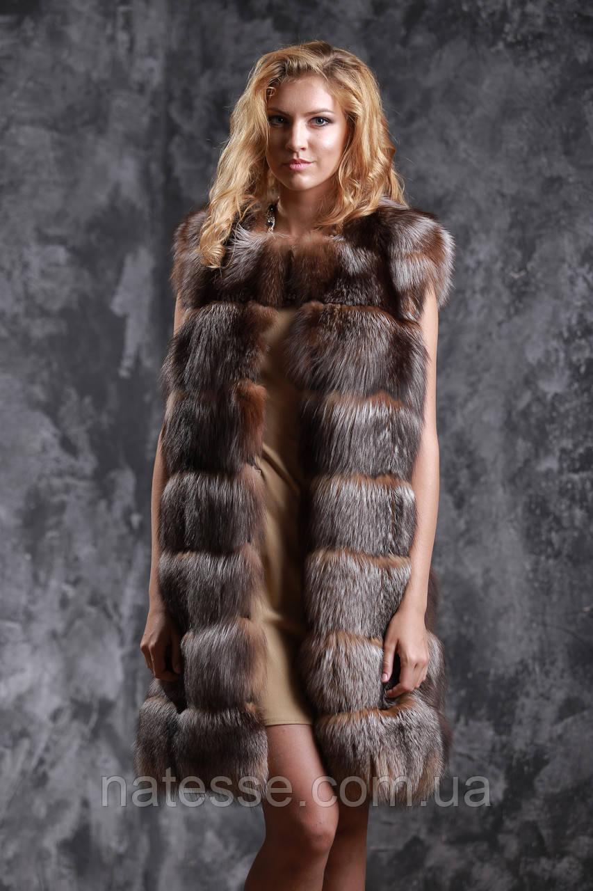 """Жилет из чернобурки цвета """"старое золото"""" ярусами Silver fox fur vest gilet sleeveless"""