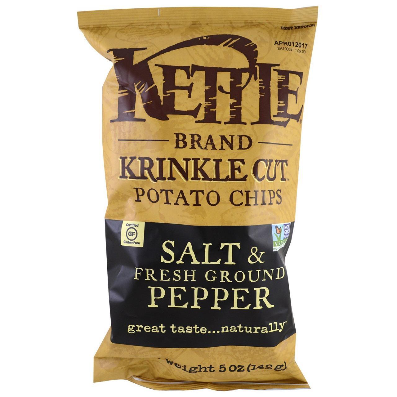 Kettle Foods, Картофельные чипсы, соль и свежий молотый перец, 142 г (5 унций)