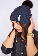 Женская шапка с помпоном, фото 3