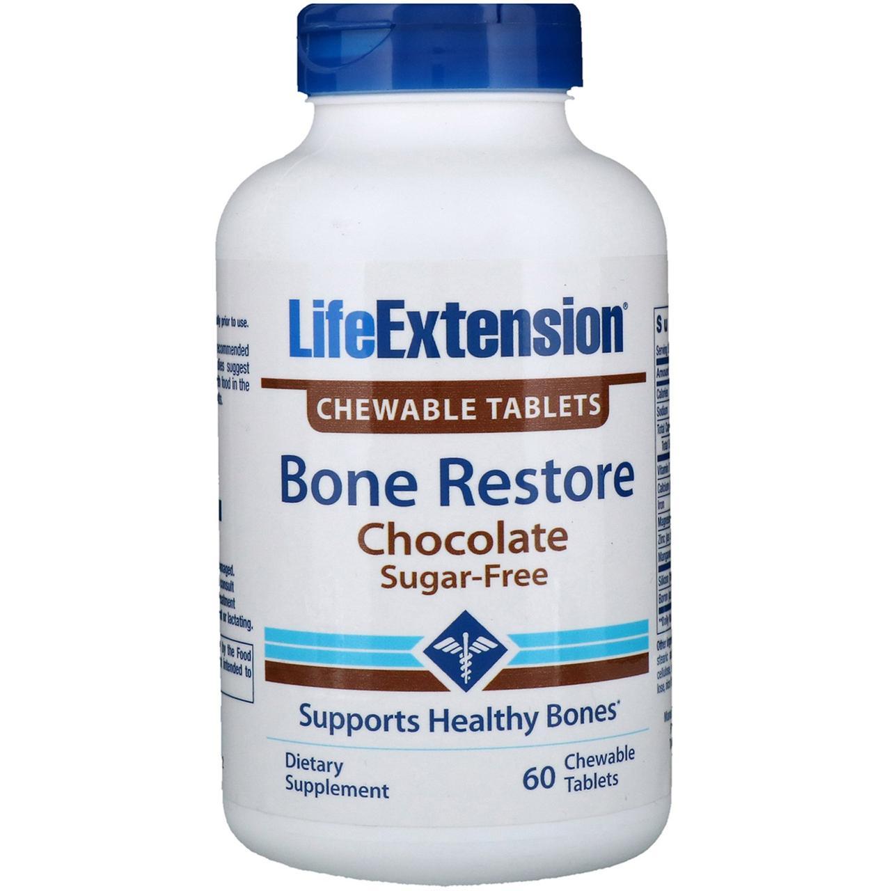 Life Extension, Восстановление костей, Шоколад, 60 жевательных таблеток
