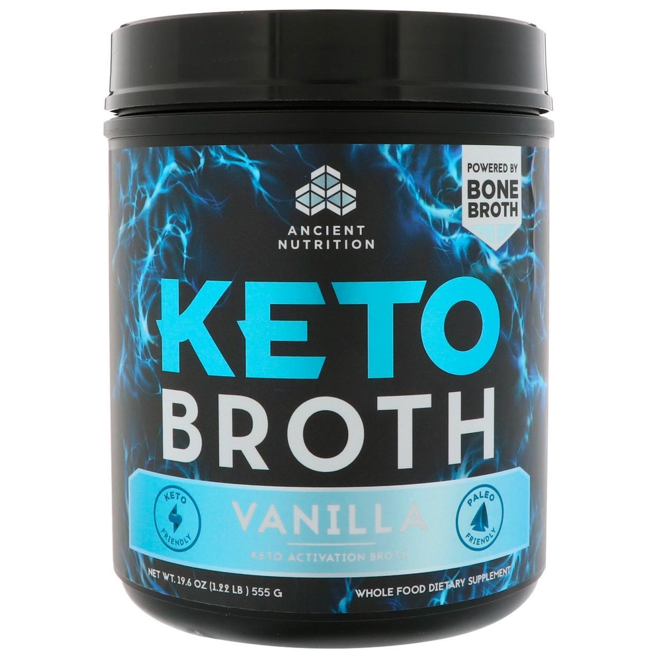 Dr. Axe / Ancient Nutrition, Keto Broth, активационный кето-бульон, ваниль 19,6 унц. (555 г)