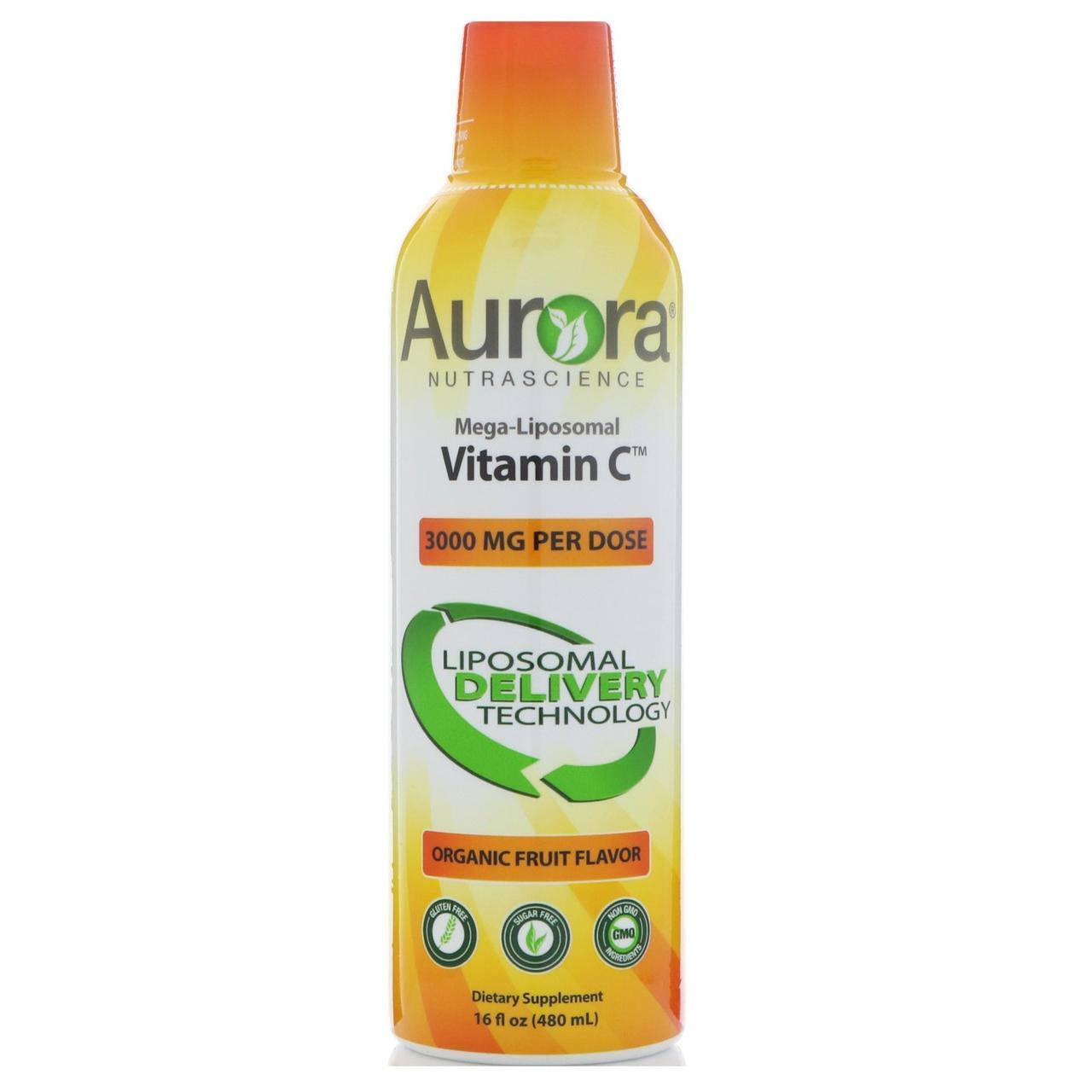Aurora Nutrascience, Мега-липосомный витамин С, Органический фруктовый вкус, 3000 мг, 16 ж. унц.(480 мл)