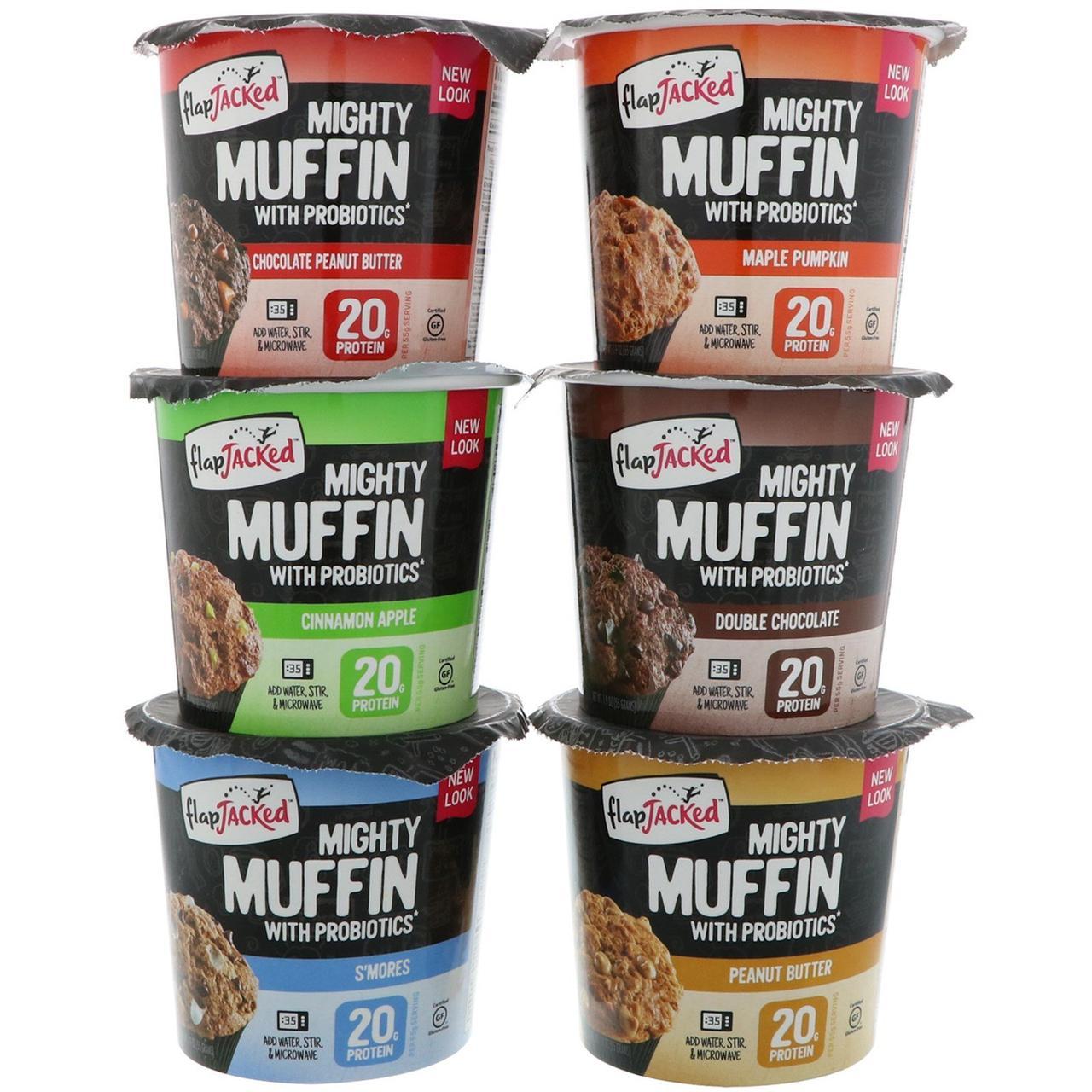 FlapJacked, Mighty Muffins, разные вкусы, 6 штук, 55 г каждый
