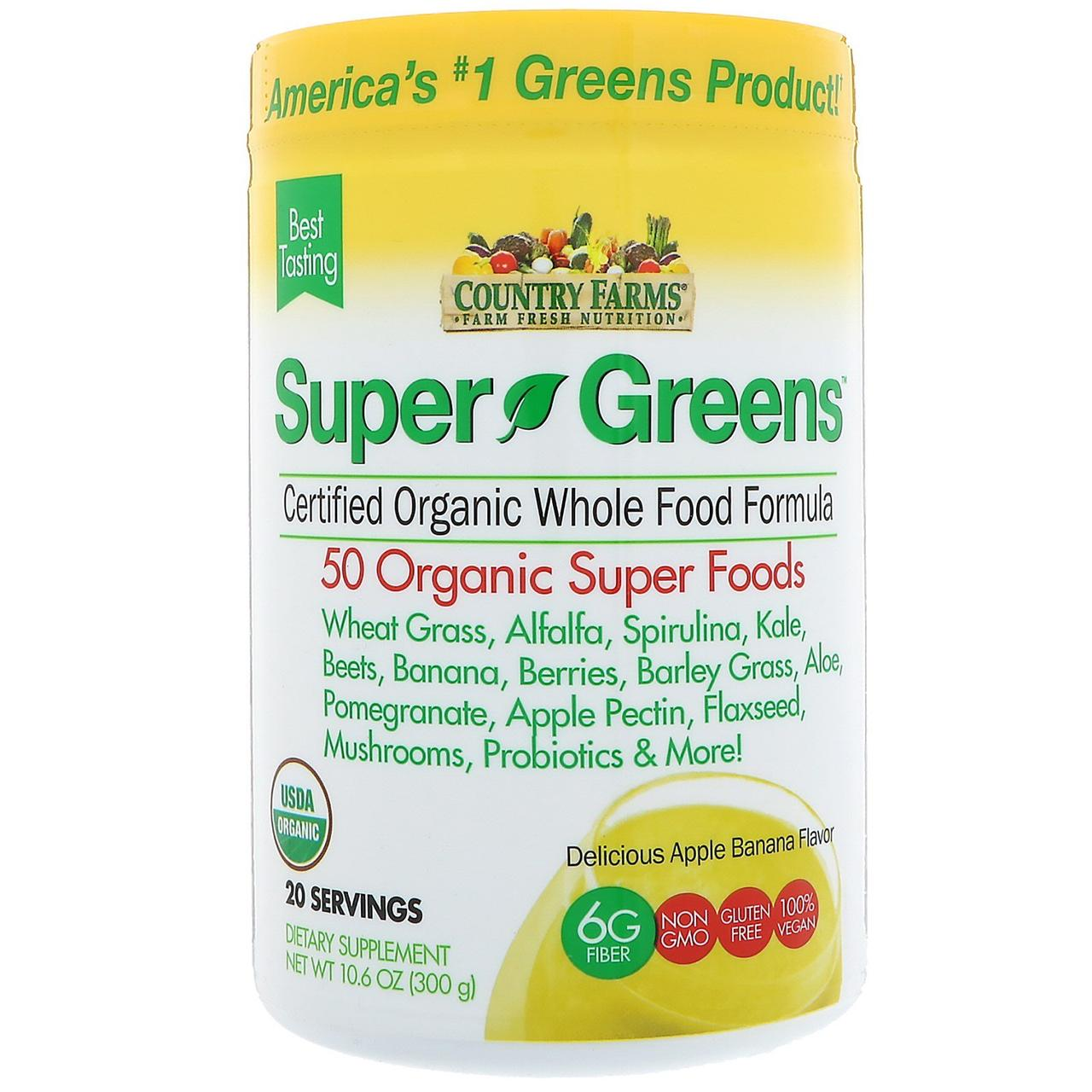 Country Farms, Super Greens, Certified Organice Whole Food Formula, Delicious Apple Banana Flavor, 10.6 oz (300 g)