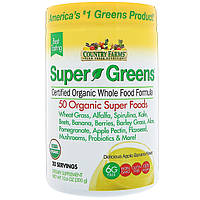 Country Farms, Super Greens, Certified Organice Whole Food Formula, Delicious Apple Banana Flavor, 10.6 oz (300 g), фото 1