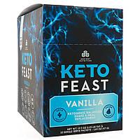 Dr. Axe / Ancient Nutrition, Keto Feast, сбалансированный кетогенный коктейль & заменитель пищи, ваниль 12 отдельных порционных пакетиков, 1,65 унц., фото 1