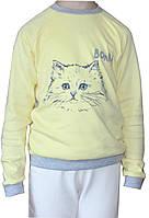 Желтый детский джемпер с кошечкой, спортивный стиль, рост 128 см, Бонка