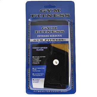 Перчатки атлетические GYM Fitness, кожа, желто-черный, фото 2