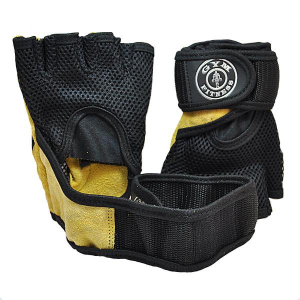 Перчатки атлетические GYM Fitness, кожа, желто-черный