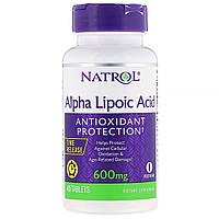 Natrol, Альфа-липоевая кислота, медленное высвобождение, 600 мг, 45 таблеток