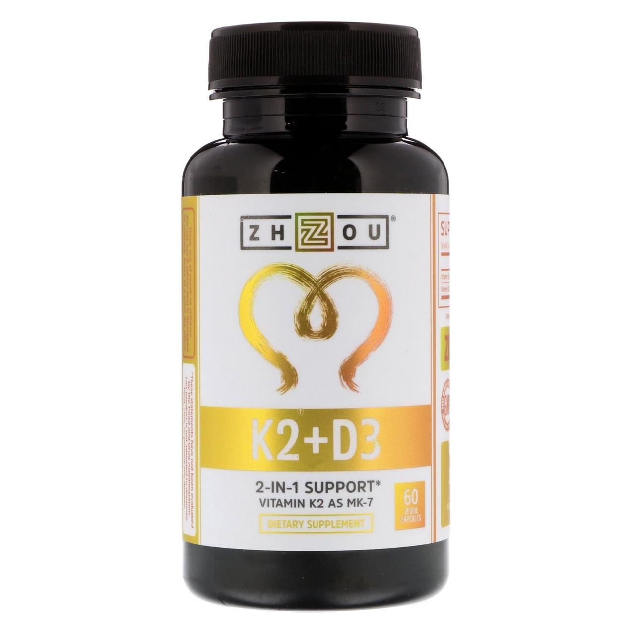 Zhou Nutrition, K2 + D3, 2-In-1 Support, 60 Veggie Capsules
