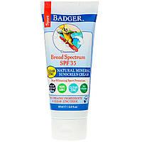 Badger Company, Sport, Natural Mineral Sunscreen Cream, Clear Zinc, SPF 35, Unscented, 2.9 fl oz (87 ml)