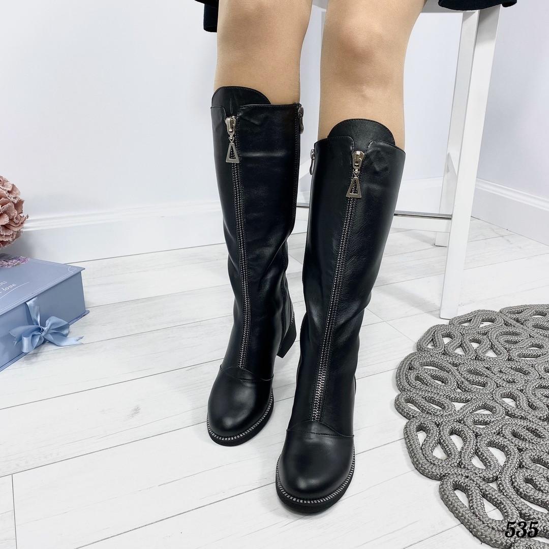 Сапоги кожаные женские зима
