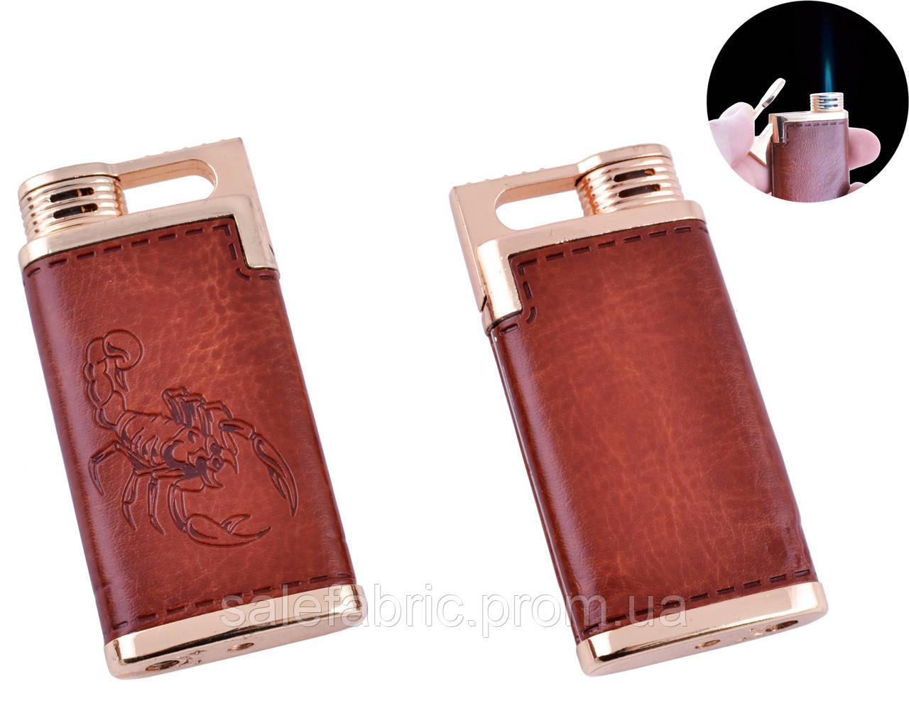 Зажигалка карманная Скорпион (Острое пламя, кожа) №4918-3