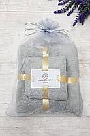 Подарочный набор полотенец баня и лицо микрофибра серый