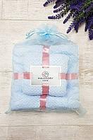 Подарочный набор полотенец баня и лицо микрофибра фактурная голубой