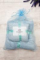 Подарочный набор полотенец баня и лицо микрофибра фактурная мятный