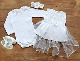 Крестильные наборы для новорожденной девочки (платье, бодик, повязочка, пинетки)