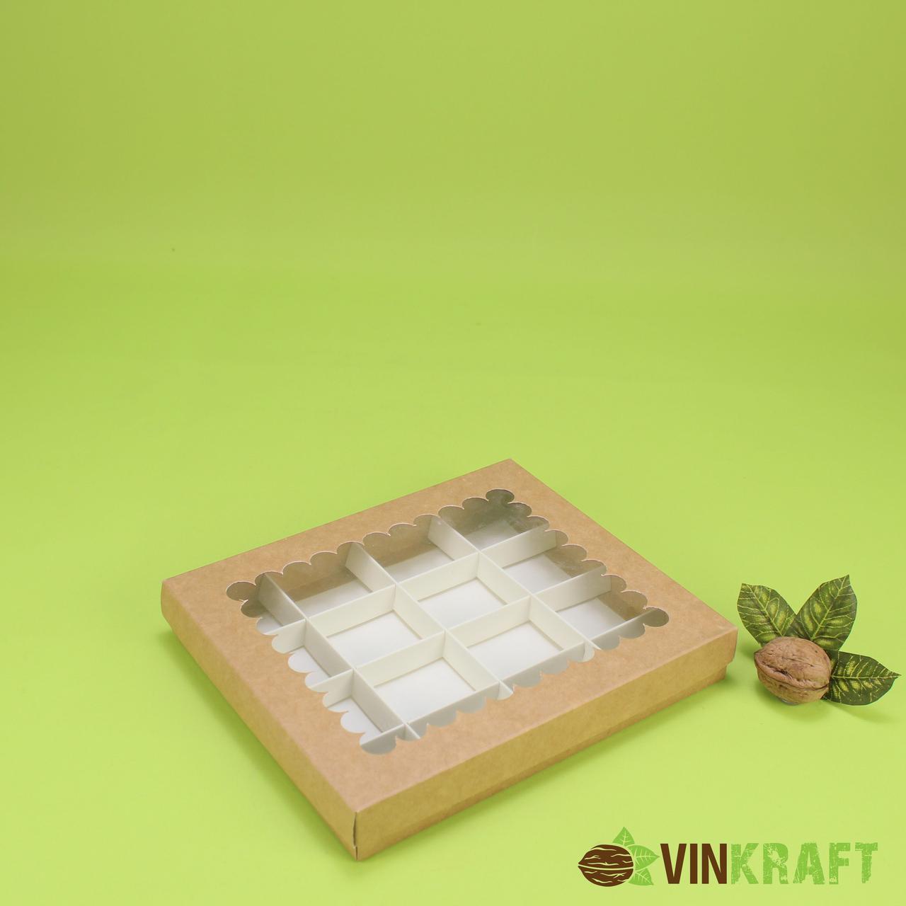 Коробка 200*170*30 для цукерок (16 шт) вікном, крафт