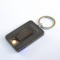 USB зажигалка брелок, Mercedes (Art - 811) Черная, спиральная электро зажигалка, от аккумулятора, Оригинальные, фото 1
