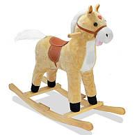 """🔝 Музыкальная лошадка качалка детская """"Поющий конь"""", Плюшевый, Светло-коричневый, коник качалка , Игрушки"""