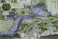 Постельное белье Тирасполь бязь евро  Ромашки на голубом Тиротекс