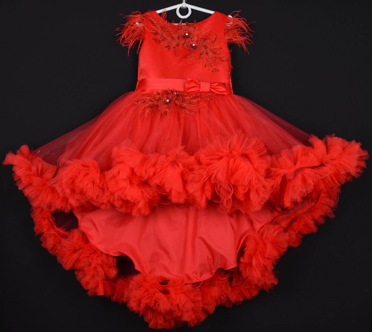 """Платье нарядное детское """"Феерия"""". 6-7 лет. Красное. Оптом и в розницу"""