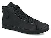 """Мужские кожаные кеды кроссовки ботинки  """"Forester"""" 41,43р черные кожаные"""