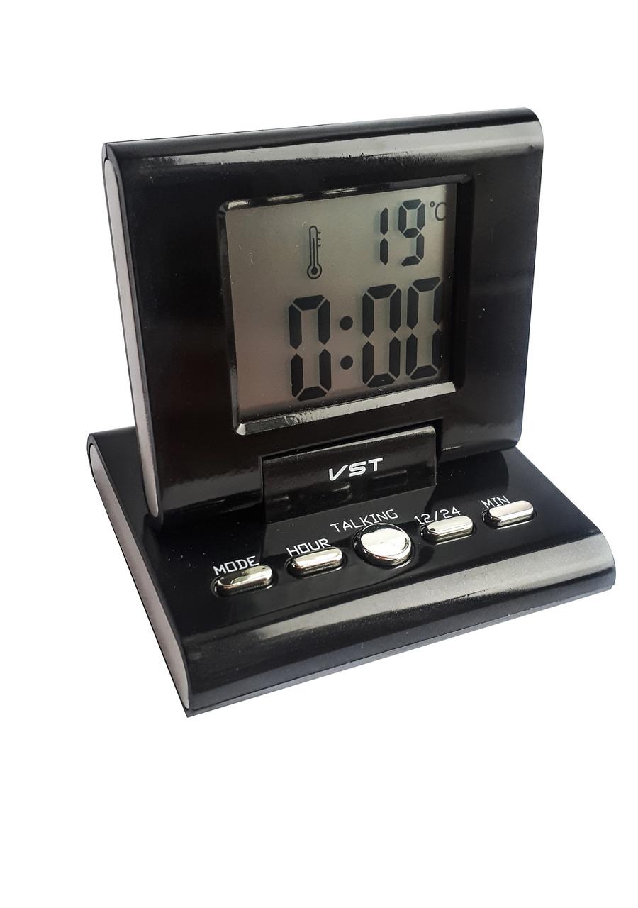 Будильник настольный говорящий VST VST-7059 Черный (7059)