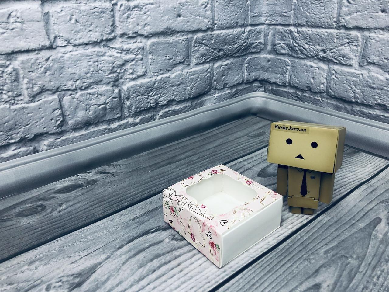 *50 шт* / Коробка для пряников / 80х80х35 мм / печать-Сердце кристальное / окно-обычн / лк