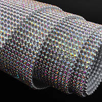 Стразовая термоткань для декора Металл-серебро Стразы Crystal AB(хамелеоны), размер 1*45см