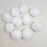 Искусственные снежки(помпоны) декоративные 4см(1 уп-10 снежков)цвет белый