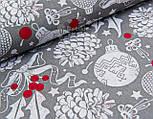 Лоскут ткани с шишками и красными ягодами на сером фоне №946, фото 4