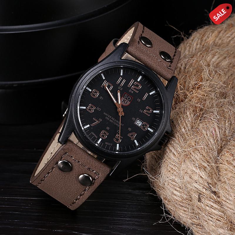 Стильные мужские часы коричневые
