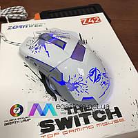 Игровая компьютерная проводная мышка Zornwee Z42 LED с подсветкой Gaming USB 2.0 геймерская мышь белая, фото 1