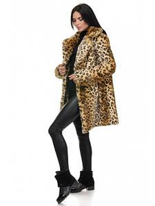 Леопардовая шубка с английским воротником