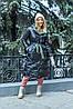 Модная двухсторонняя зимняя непромокаемая длинная куртка-пальто с капюшоном, батал большие размеры, фото 4