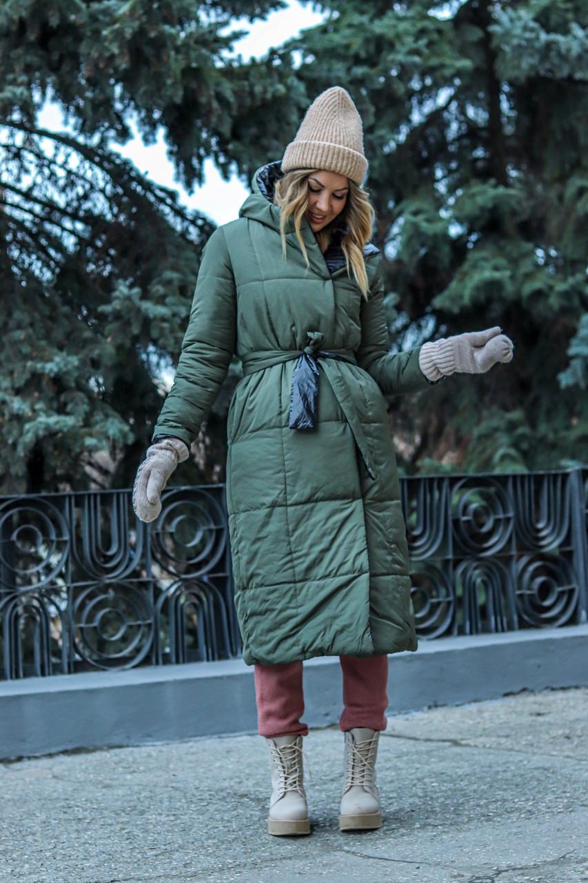 Модная двухсторонняя зимняя непромокаемая длинная куртка-пальто с капюшоном, батал большие размеры