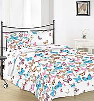 Простынь на полуторную кровать Вилена бязь Голд Бабочки на белом размер 145х220