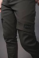 Брюки мужские зимние до - 25*С + ПОДАРОК Soft Shell на флисе хаки / штаны  ЛЮКС качество