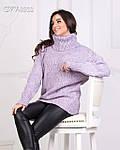 Теплий в'язаний светр з горлом, фото 4
