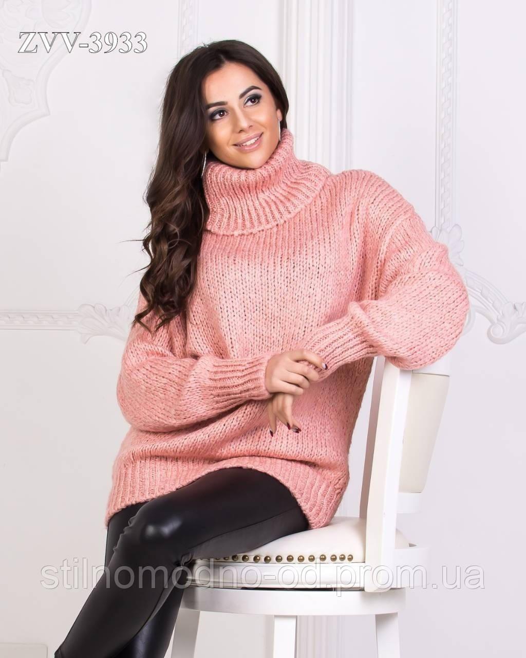 Теплий в'язаний светр з горлом