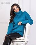 Теплий в'язаний светр з горлом, фото 5