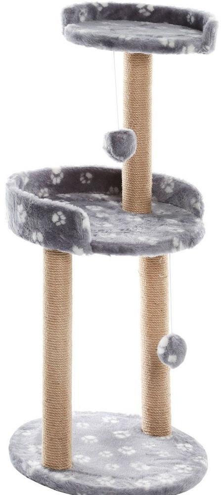 Когтеточка Серая с круглой площадкой и игрушкой 43х43х100см