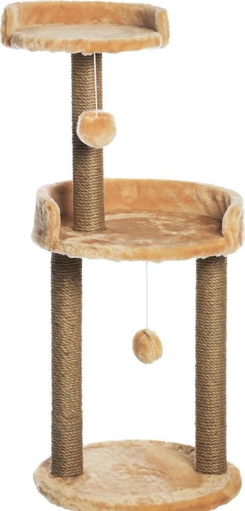 Когтеточка с круглой площадкой и игрушкой 43х43х100см