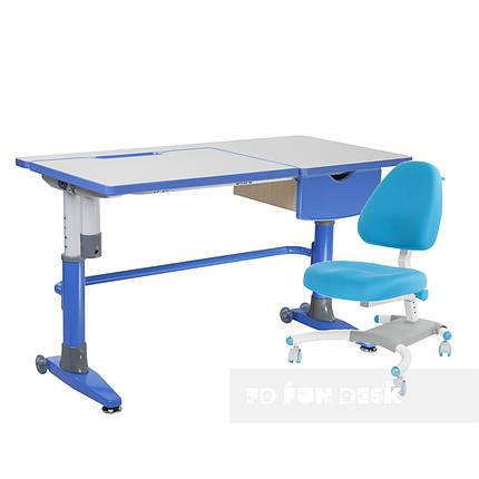 Комплект подростковая парта для школы Ballare Blue + подростковое кресло Ottimo Blue FunDesk, фото 2