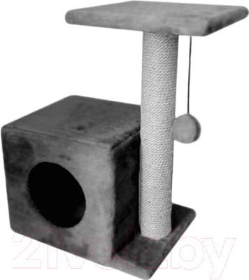 Домик для кошек с когтеточками и полочкой-лежанкой серого цвета35х45х75см