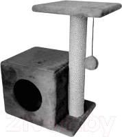 Домик для кошек с когтеточками и полочкой-лежанкой серого цвета 46х36х65см